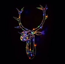Reindeer Stag Head 80 LED's Light Up Multi Colour Christmas Wall Decoration Xmas
