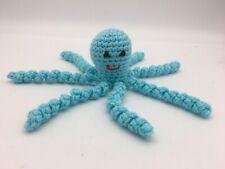 "Crochet Handmade Baby Octopus Toy Lovey Gift Newborn Preemie Turquoise Blue 7"""