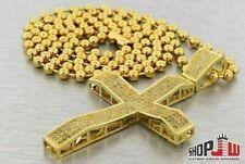 Simulated Diamond Cross Pendant Chain Set Gold Plated Mens Bling Combo