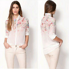 Collared Chiffon Fitted Floral Tops & Shirts for Women