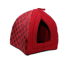 LARGE IGLOO FOLDABLE PET CAT DOG KITTEN WARM FLEECE HOUSE BED SOFT PUPPY RED N