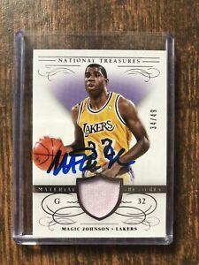 Magic Johnson Lakers 2014-15 Panini National Treasures Jersey Card 34/49 Signed