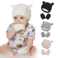 Baby Hat and Mittens Set Kids Knitted Beanie Cap Winter Warm Ear Hats Gloves