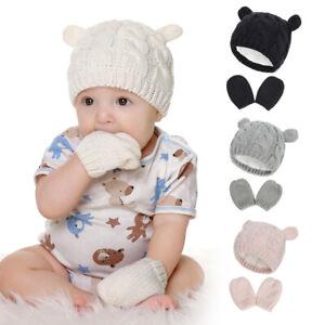 Babys Hat & Mittens Set Kids Beanie Knitted Cap Gloves Winter Warm Pompom Hats