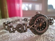 VINTAGE STERLING SILVER 925 MARCASITE DIAMOND WRIST WATCH WOMEN'S