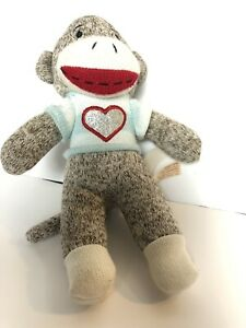Sock Monkey With Heart 10 Inch Striped Blue Shirt