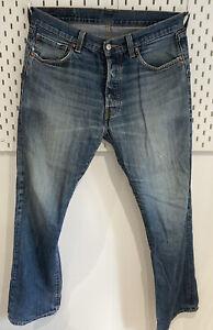 Vintage Levis 501 Distressed Mens Classic Blue Jeans W34 Inch /L31 Inch