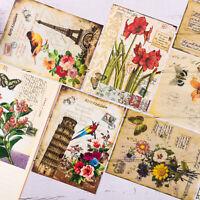 8 Pcs Bird Flowers Paper Pad Scrapbooking Junk Journal Planner Card DIY Craft