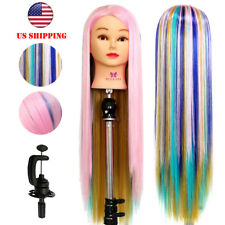 "26"" Fashion Colorful Hair Hairdressing Braiding Training Head Practice Mannequin"