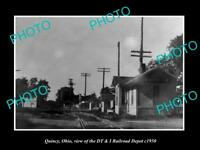 OLD LARGE HISTORIC PHOTO OF QUINCY OHIO THE DT&I RAILROAD DEPOT c1950