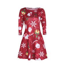 Fashion Women's Lady Santa Snowman Christmas Party Crewneck Long-Sleeve Dress