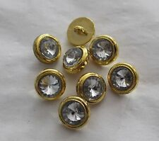 "5/8"" Round Dome Rhinestone Style Button w/ GOLD Bezel (8 pc)"