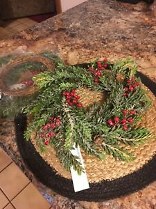 """Valerie Parr Hill set 2 Iced Hemlock and Berries 10"""" Candle Rings, NEW"""