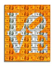 Love Neon Orange – Original Dollar Collage Painting on Paper, Signed, COA