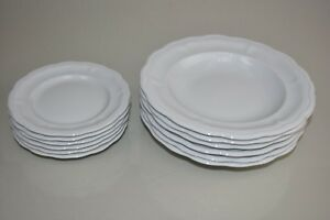 NEW Williams Sonoma Pillivuyt Queen Anne Porcelain 12 PC Butter Soup Plate Bowls