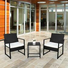 3pcs Outdoor Patio Bistro Set PE Rattan Wicker Furniture Conversation w/ Cushion