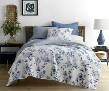 JCPenney Home Emma Indigo Rose Floral Reversible Quilt Full/Queen NEW