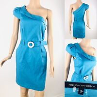 Womens Beautiful FRENCH CONNECTION One Shoulder Blue Dress & Belt Size 12 FCUK