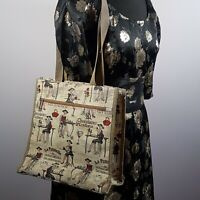 SIGNARE Tapestry Shopper Tote Bag French Dining Design Large Ladies Square