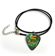 5SOS Michael Clifford Guitar Picks Gold printed signature cord necklace Green