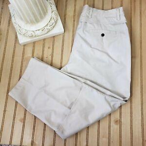 Adidas Mens Sz 36x27 Climacool Stretch Vented Flat Front Beige Golf Pants Hemmed