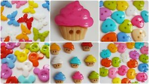 SMALL NOVELTY CHILD BUTTONS – 2 HOLE, APPLE, CUPCAKE, BUTTERFLY, HEART, CARDIGAN