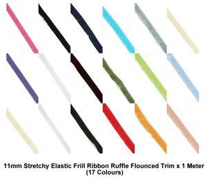 11mm Stretchy Elastic Frill Ribbon Ruffle Flounced Trim x 1 Meter (17 Colours)