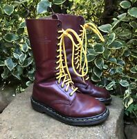 Vintage DR MARTENS Made In England Cherry Red 14 Eye High Boots, 6 UK 7 US 39 EU