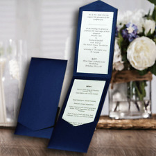 POCKETFOLD INVITATIONS DIY WEDDING PORTRAIT NAVY SHIMMER PEARLISED + ENVELOPE