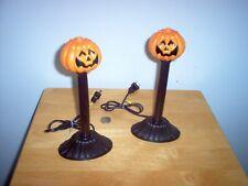 Vintage Plastic Halloween Electric Lighted Pumpkin Candlesticks