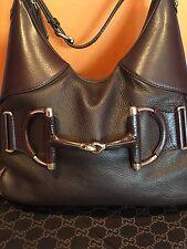 Gucci Brown Pebbled Leather Heritage Web Horsebit Hobo Bag