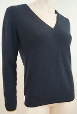 Chinti & PARKER NERO 100% CASHMERE COLLO V Giallo Trim Maglione Pullover Top SZ: M