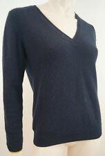 CHINTI & PARKER Black 100% Cashmere V Neck Yellow Trim Jumper Sweater Top Sz:M
