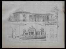 VITTEL, CASINO - 1886 - PLANCHE ARCHITECTURE - CHARLES GARNIER