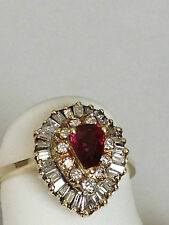 Ruby  Diamond  14k yellow Gold Ballerina Ring baguette round pear 1.50 carat
