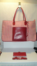 roots LANCEL HUGE LARGE  SHOPPER TOTE BEACH BAG  MINT RUBY RED LEATHER/CANVAS