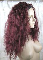 cherry red wavy curly frizzy puffy half head long hair wig headband