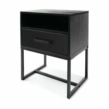 New Side Drawer Bedside Lamp Table Cabinet Wood Nightstand Bedroom FF