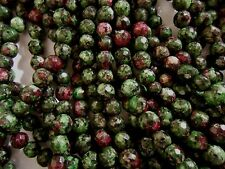 """15"""" strand RUBY in ZOISITE faceted 5-6mm ROUND STONE BEADS"""
