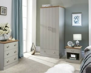 New Boxed Kendal Grey/Oak 3 Piece Bedroom Set LOCAL DELIVERY ONLY.