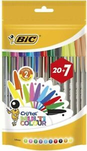BIC Cristal Multicolour Pens - Pack of 20 + 7 COMPLETELY FREE