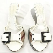 BURBERRY Nova Check White Kitten Heel Sandals Slides 5.5 35.5 Plaid