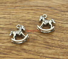 20 Rocking Horse Charm Baby Toy 3D Charm Antique Silver Tone 15x14 1639