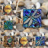 Gelb Mond Libelle Eule Kunst Insekt Cabochon Quadrat Anhänger Halskette Silber