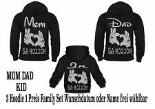 Mom Dad Hoodie Family Set Pullover Partner Look Hipster Viele Farben Gr XS - 5XL
