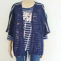 Women's H.I.P. sz 2x navy lace top Nordstrom new jacket blouse drawstring