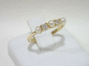 TIFFANY & CO. 18k yellow gold ring with pearls & diamonds size 4.5