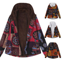 Women's Winter Warm Outwear Floral Print Hooded Pockets Vintage Oversize Coats
