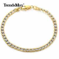 "4mm 7.6"" Mens Womens Curb Cuban Link Chain Bracelet Gold Filled Bangle Jewelry"