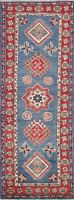 Vegetable Dye Super Kazak Oriental Geometric Nomad Runner Rug Hand-knotted 2'x6'